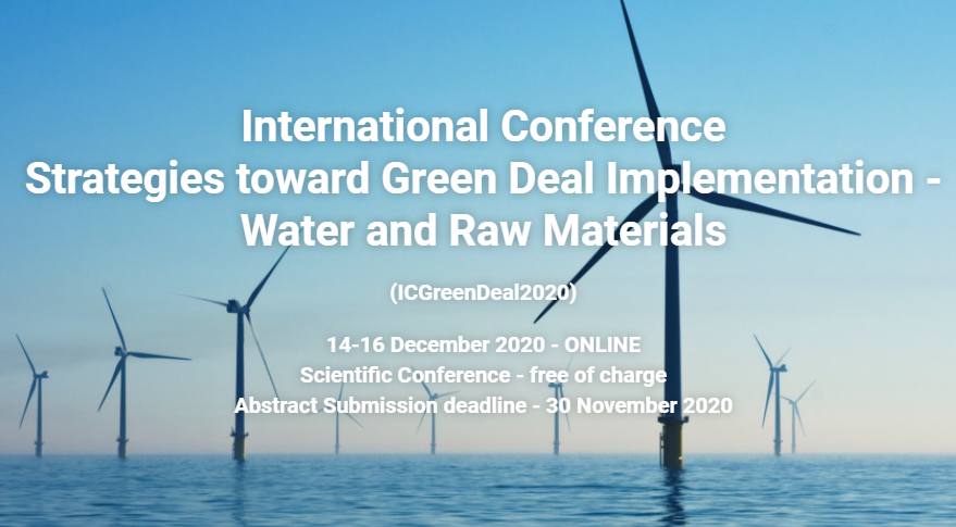 """A special session entitled """"Water and sewage"""" will be dedicated to the MonGOS project (NAWA) on 15th December 2020 (in English), during the 2nd day (9:30-11:00 AM) of an International Conference: Strategies toward Green Deal Implementation – Water and Raw Materials."""